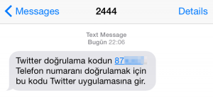 3. Cep telefonuna ekrandaki gibi bir SMS gelecektir.